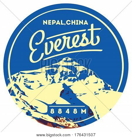 Everest in Himalayas, Nepal, China outdoor adventure badge. Chomolungma higest mountain on Earth. Climbing, trekking, hiking, mountaineering and other extreme activities logo template.