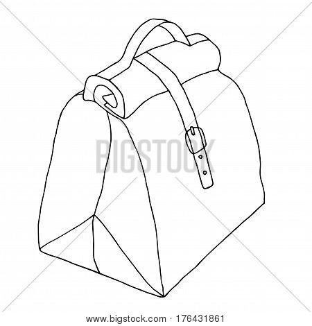 Ladies bag with lock. Hand drawn black and white sketch. Vector illustration