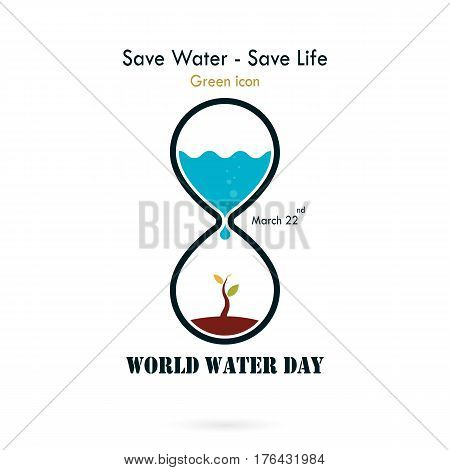 Water drop and sandglass icon with small tree icon vector logo design template.World Water Day icon.World Water Day idea campaign concept for greeting card and poster.Vector illustration