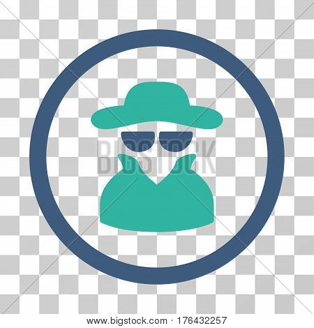 Spy icon. Vector illustration style is flat iconic bicolor symbol cobalt and cyan colors transparent background. Designed for web and software interfaces.