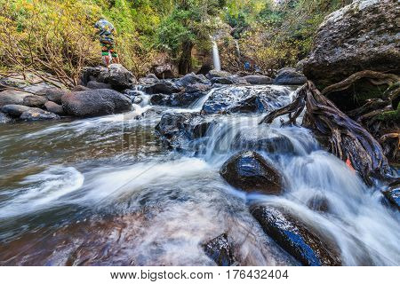 Headwaters River and Waterfall small in national park