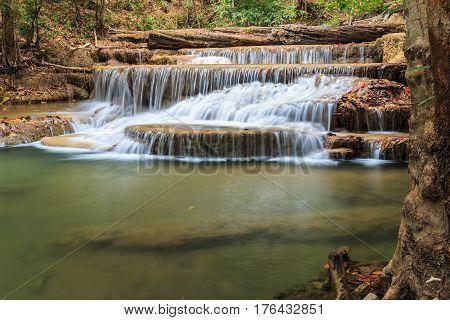 Waterfalls Huay Mae Kamin in season summer nature park forest Thailand