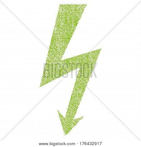 High Voltage vector textured icon for overlay watermark stamps. Fabric light green vectorized texture. Symbol with dirty design. Rubber seal stamp with fiber textile structure.