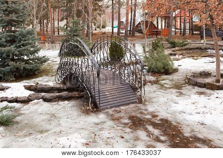 The Small Decorative Bridge In The Park