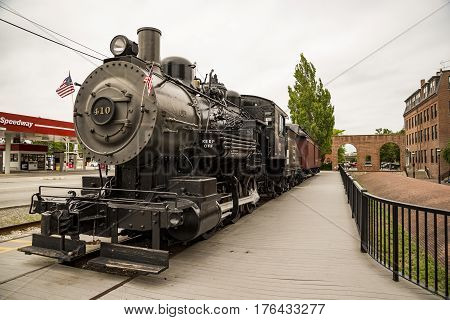 LAWRENCE MA - JULY 8: Train station with locomotive from the past on July 8 2016 in Lawrence MA USA