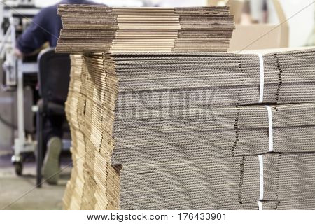 Corrugated board boxes in the printing house