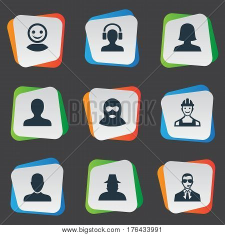 Vector Illustration Set Of Simple Member Icons. Elements Internet Profile, Agent, Portrait And Other Synonyms Worker, Agent And Engineer.
