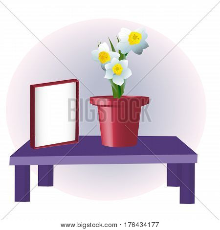 Empty frame and flower vase, mock up