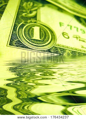 The American dollar. A fragment of a banknote of one dollar