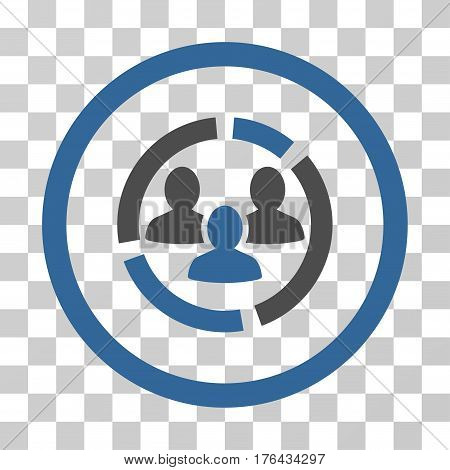 Demography Diagram icon. Vector illustration style is flat iconic bicolor symbol cobalt and gray colors transparent background. Designed for web and software interfaces.