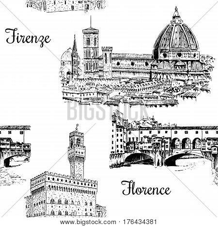 Set of Florence symbols. Duomo Santa maria del fiore, Palazzo Vecchio or Palazzo della Signoria, Ponte Vecchio bridge. Hand drawn sketch seamless pattern vector set. For prints, textile, wrapping, web