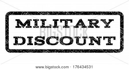 Military Discount watermark stamp. Text caption inside rounded rectangle with grunge design style. Rubber seal stamp with scratched texture. Vector black ink imprint on a white background.