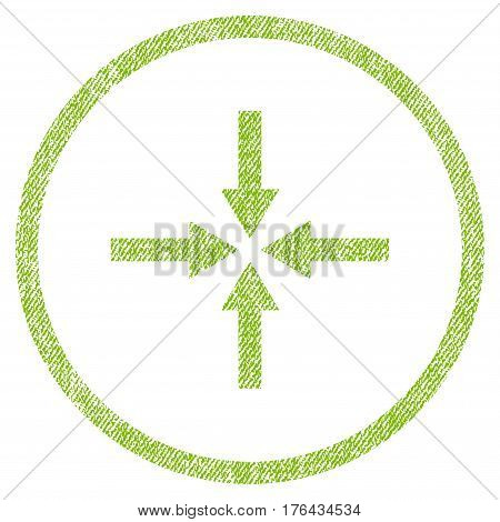 Impact Arrows vector textured icon for overlay watermark stamps. Fabric light green vectorized texture. Symbol with dirty design. Rubber seal stamp with fiber textile structure.