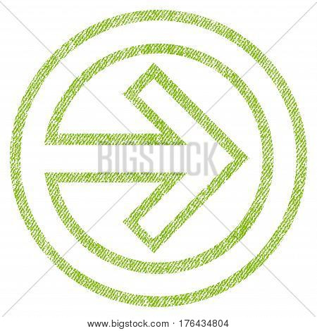 Import vector textured icon for overlay watermark stamps. Fabric light green vectorized texture. Symbol with unclean design. Rubber seal stamp with fiber textile structure.