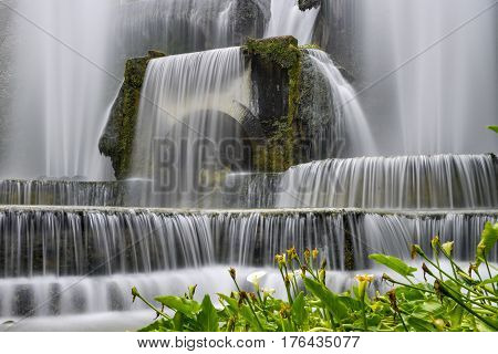 waterfall and garden of the villa of cardinal Ippolito d`Este Tivoli Italy
