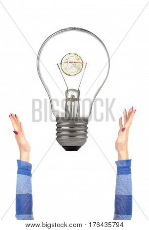 Bulb and woman hands on a white background