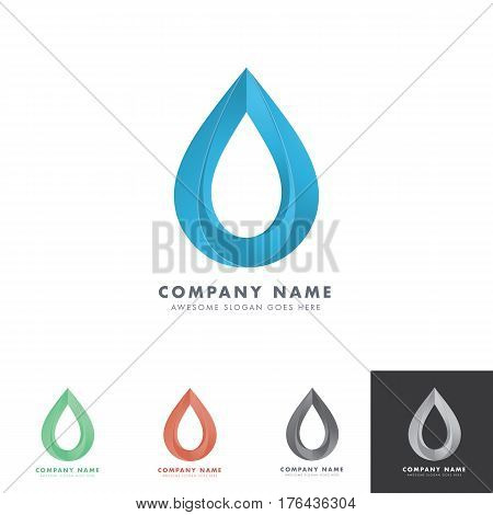 double drop water logo with negative space for water based company, drinking product or any others