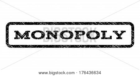 Monopoly watermark stamp. Text caption inside rounded rectangle with grunge design style. Rubber seal stamp with scratched texture. Vector black ink imprint on a white background.