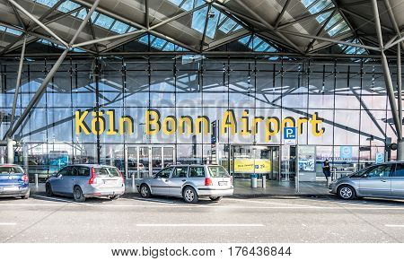 COLOGNE / GERMANY - MARCH 15 2017: Cologne Bonn Airport terminal during the strike