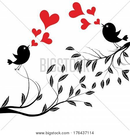Bird with love. Vector illustration of a birds wedding on tree sing a heart song.