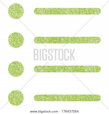 Items vector textured icon for overlay watermark stamps. Fabric light green vectorized texture. Symbol with dust design. Rubber seal stamp with fiber textile structure.