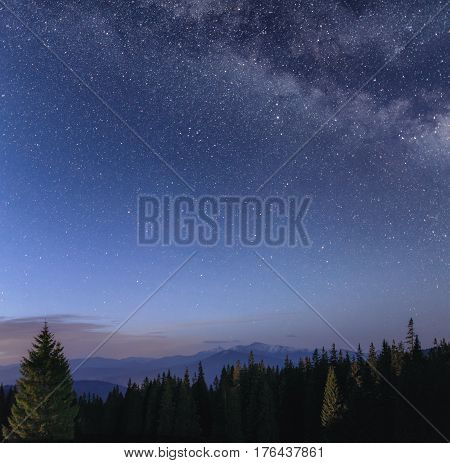 Night sky with Milky Way over the mountain landscape with forest at the foreground