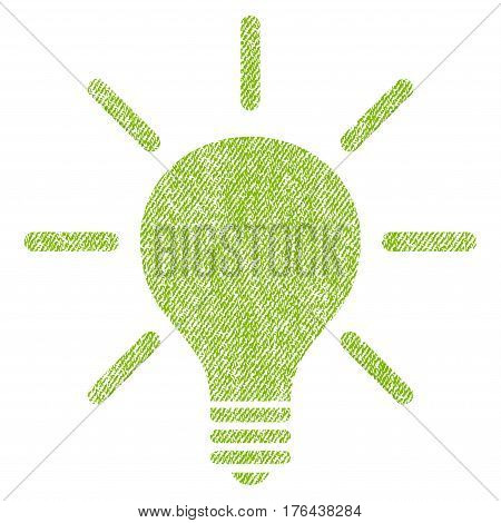 Light Bulb vector textured icon for overlay watermark stamps. Fabric light green vectorized texture. Symbol with dirty design. Rubber seal stamp with fiber textile structure.