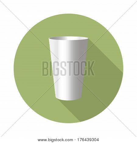 flat vector stainless steel tumbler icon with long shadow in to green round geometric shape as zero waste bpa and plastic free concept