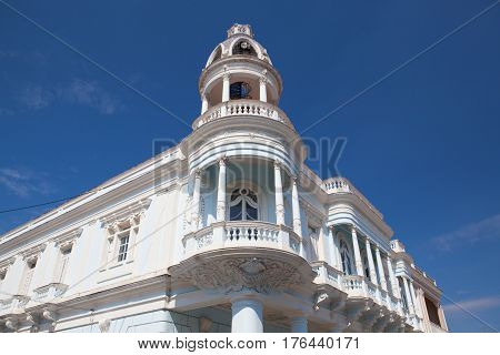 Cienfuegos Cuba - January 28 2017: The Ferrer palace in the Jose Marti park of Cienfuegos in Cuba.The work was built between 1917 and 1918.