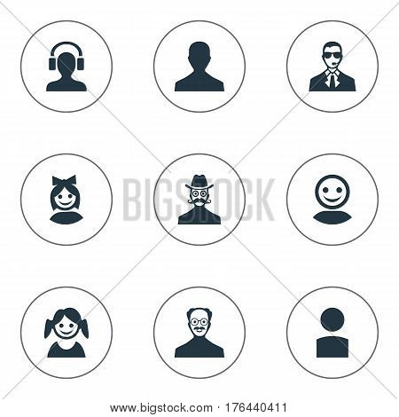 Vector Illustration Set Of Simple Human Icons. Elements Male With Headphone, Male User, Internet Profile And Other Synonyms Male, Security And Little.