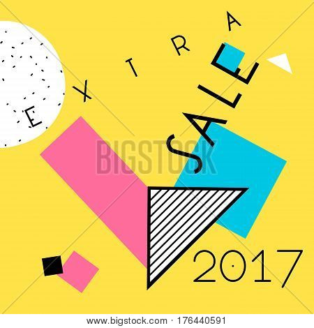 Abstract trendy vector Neo Memphis style background. Last Call Sale 2017