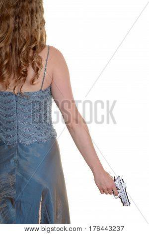 isolated woman holding gun on white background