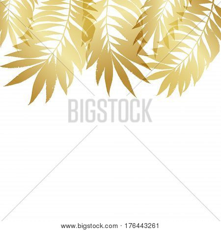 Summer Tropical Palm Tree Gold Leaves Border, Frame Background. Vector Grunge Design For Card, Poste