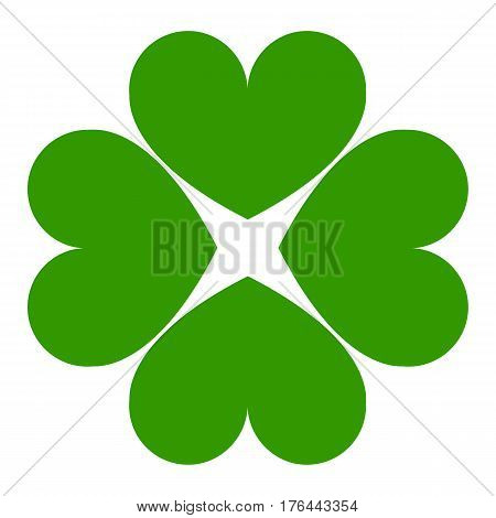 icon green cloverleaf on a white background. a template for the feast of Saint Patrick or the company logo. vector illustration