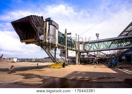 Phuket, Thailand - 2015 Oct 20 : The Building Aerobridge At Phuket International Airport On July 28,