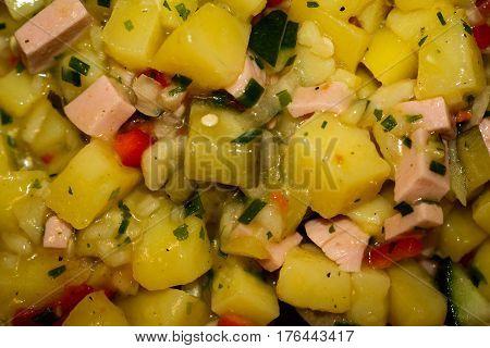 Swabian potato salad, Bavarian potato salad, eating