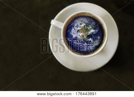 coffee cup with the world inside, from above