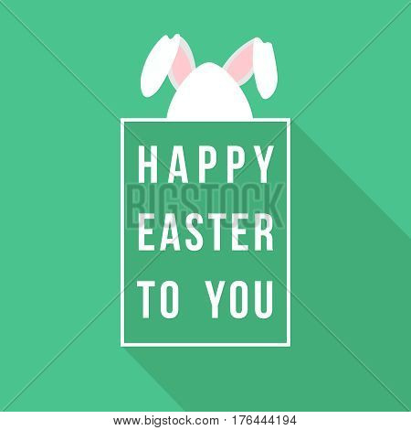 Rabbit Ears Greeting Card Design For Happy Easter