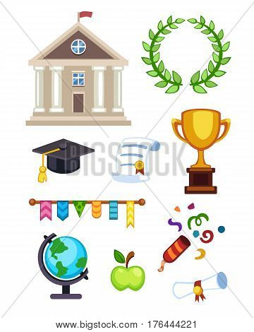 University building vector illustration. Flat school education elementary high college icons isolated. Graduation ceremony champion cup winner diploma.