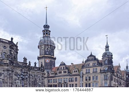 Dresden Germany- January 42017: The royal residence on the Theater Square