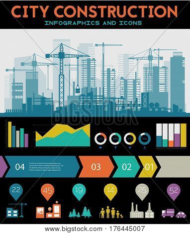 Construction illustration for websites. City skyline construction background with step banners and infographics elements