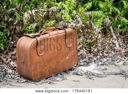 Leather Suitcase On Rural Road