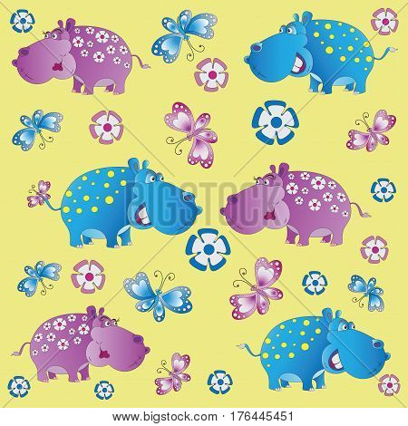 Fun zoo. Hippos. A child's drawing. Pink and blue begemoty. The cartoon characters. Design for pattern, textiles, children's book, the background image.