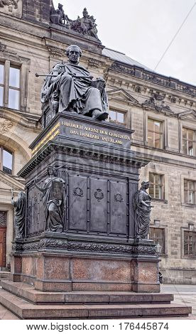 Dresden Germany- January 42017: The statue of the first King of Saxony Frederick Augustus I (Just) was created by the sculptor Ernst Ritschel in 1841-1843