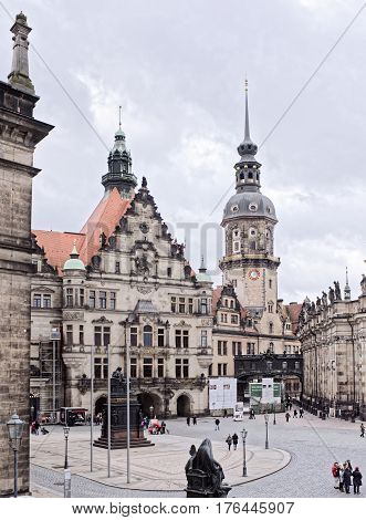 Dresden Germany- January 42017: The royal residence on the Theater Square on which tourists go