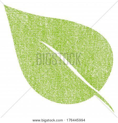 Plant Leaf vector textured icon for overlay watermark stamps. Fabric light green vectorized texture. Symbol with scratched design. Rubber seal stamp with fiber textile structure.