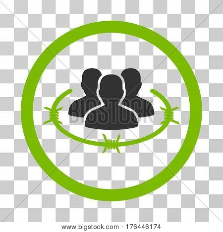Concentration Camp icon. Vector illustration style is flat iconic bicolor symbol eco green and gray colors transparent background. Designed for web and software interfaces.