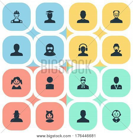 Vector Illustration Set Of Simple Human Icons. Elements Male User, Job Man, Male With Headphone And Other Synonyms Offender, Boy And Student.