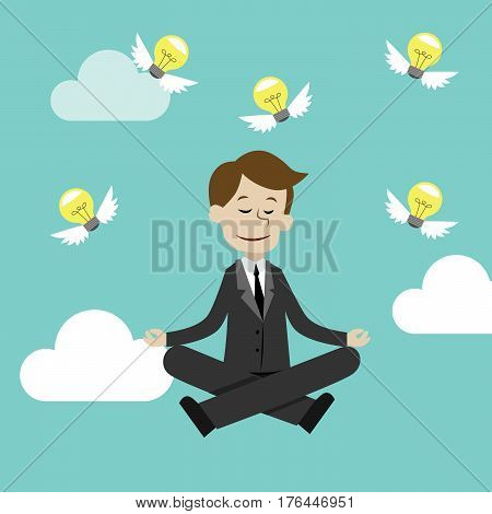 Businessman sitting and meditating.Making ideas. Vector illustration