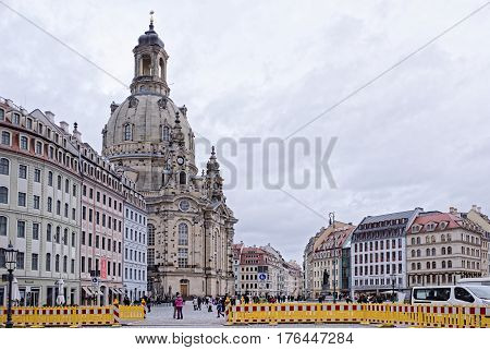 DresdenGermany-January 42017: Frauenkirche is a Lutheran church. It was erected on (1670-1733).Tourists visiting the sights